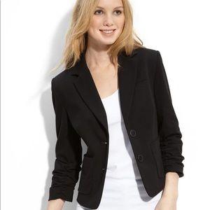 Topshop Scrunch 3/4 Length Sleeve Black Blazer